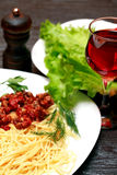 Pasta And Wine Stock Photo
