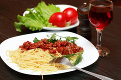Pasta And Wine Stock Photography
