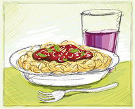 Pasta and Wine Sketch Royalty Free Stock Images