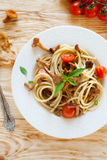 Pasta With Chanterelle Mushrooms, Top View Royalty Free Stock Photo