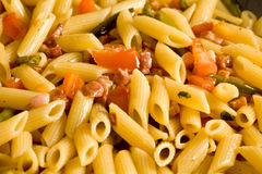 Pasta With Ham And French Beans Royalty Free Stock Image