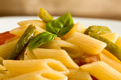 Pasta With Ham And French Beans Royalty Free Stock Photography