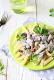 Pasta With Mushrooms And Cream Sauce Royalty Free Stock Image