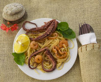 Pasta With Octopus, Calamari Stock Photography