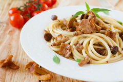 Pasta With Roasted Wild Mushrooms Royalty Free Stock Photography