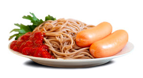 Free Pasta With Sausages And  Catchup Royalty Free Stock Photo - 29059845