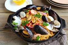 Pasta With Seafood In A Pan Royalty Free Stock Images