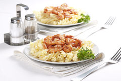 Pasta With Tomato And Shrimps Stock Photo