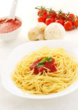 Pasta With Tomato Sauce Basil And Grated Parsley