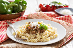 Pasta witn bolognese sauce royalty free stock photo