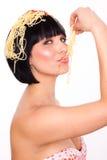 Pasta woman Royalty Free Stock Image