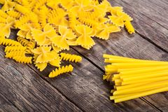 Pasta on wood table Royalty Free Stock Photo