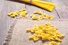 Pasta on wood table Stock Photography