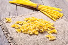 Pasta on wood table Stock Image