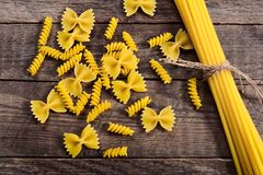 Pasta on wood table Royalty Free Stock Images