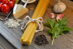 Pasta on wooden background Stock Image