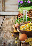 Pasta in a wooden bowl Royalty Free Stock Photography