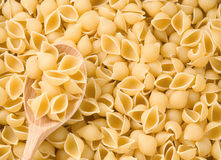 Pasta and wooden spoon Stock Image