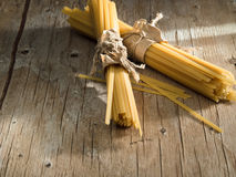 Pasta on a wooden table Royalty Free Stock Image