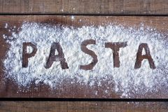 Pasta word with background Stock Photography