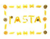 Pasta word with frame Stock Photo