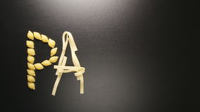 Pasta word write by several pasta types stop motion stock video