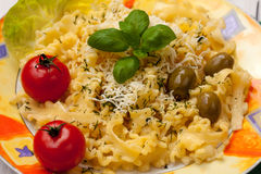 Pasta with yellow cheese Stock Images