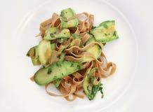 Pasta zucchini 2. Domestic made tagliatelle pasta with zucchini Stock Photos