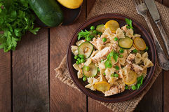 Pasta with zucchini, chicken Royalty Free Stock Photos