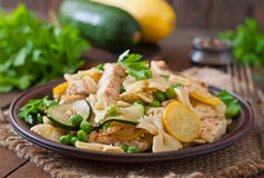 Pasta with zucchini, chicken Royalty Free Stock Image
