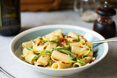 Pasta with Zucchini and Chili Royalty Free Stock Photography
