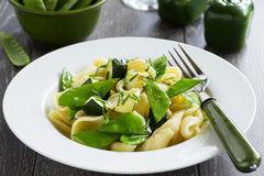 Pasta with zucchini. And green bell peppers Royalty Free Stock Photos