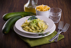Pasta with zucchini pesto. Stock Photo