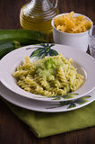 Pasta with zucchini pesto. Royalty Free Stock Images
