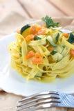 Pasta zucchini and shrimp Royalty Free Stock Photo