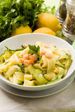 Pasta with Zucchini and Shrimps Stock Photography