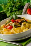 Pasta with Zucchini and Shrimps 2 Royalty Free Stock Image