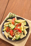 Pasta with Zucchini and Tomato Stock Photography
