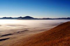 Pastagem no outono, névoa de Bashang da manhã fotos de stock royalty free