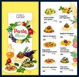 Pastameny för italienskt kafé med kokkonst av Italien stock illustrationer