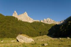 Pastando a área e o pedregulho nos Pyrenees franceses Foto de Stock
