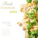 Pastaravioli med basilika Arkivbilder