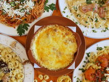 Pastas. Display of a variety of pasta dishes stock photography