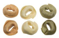Pastas aisladas del tricolore del tortellini Imagen de archivo libre de regalías