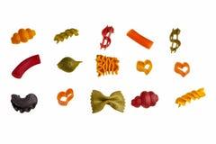 Pastas coloridas italianas. imagenes de archivo