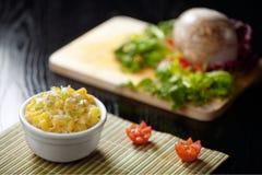 Pastas con el queso y las patatas de Provola Fotografía de archivo libre de regalías