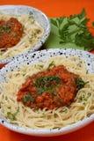 Pastas con la salsa de tomate Imagen de archivo libre de regalías