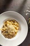 Pastas con las setas y el parmesano Fotografía de archivo libre de regalías