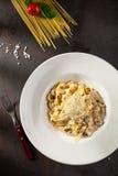 Pastas con las setas y el parmesano Imagen de archivo