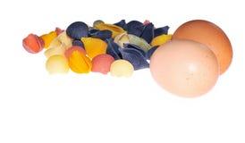 Pastas con los huevos. foto de archivo